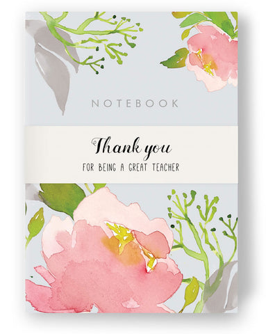 Teachers Stationery Gift Set - A6 Pink Peony Notebook and Notepad