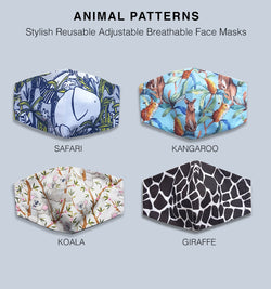 Animal Pattern Reusable Face Mask - Kangaroo, Safari, Giraffe, Koala