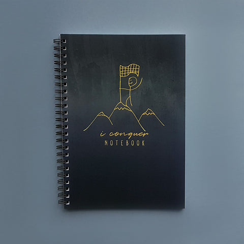 I Conquer Bullet Dotted Journal Spiral Motivational Notebook