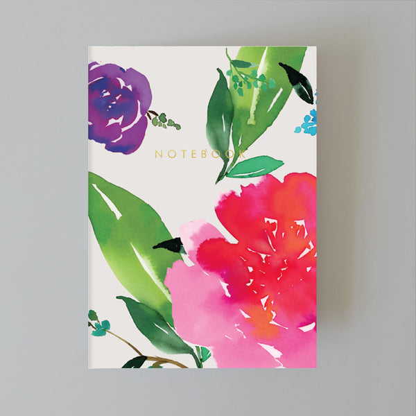 A5 Bullet Dot Journal Notebook 48 pages - Magenta Florals