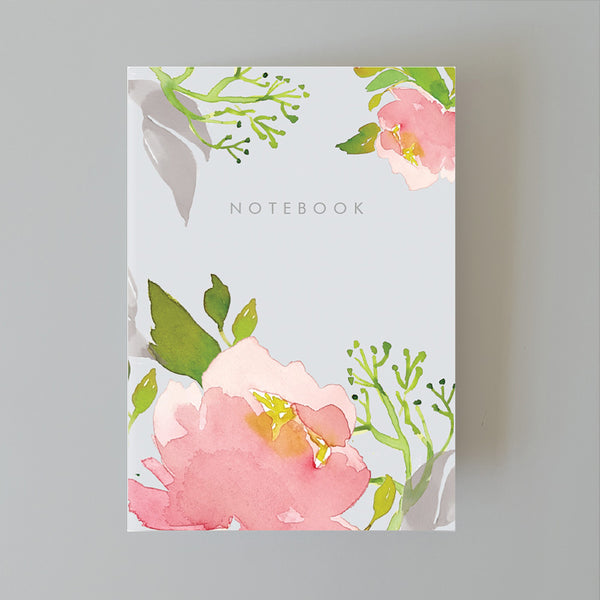 A5 Bullet Dot Journal Notebook 80 pages - Pink Peony