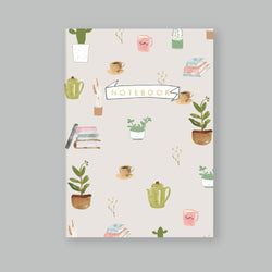 A5 Bullet Dot Journal Notebook 80 pages - Plants and Coffee