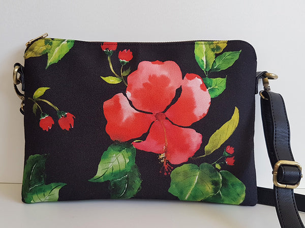 Cross Body Bag - Red Hibiscus