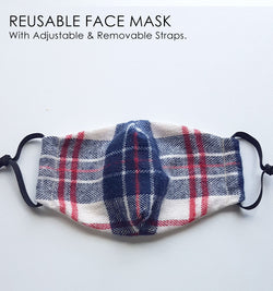 Plaid Pattern Reusable Face Mask - Checked Flannel
