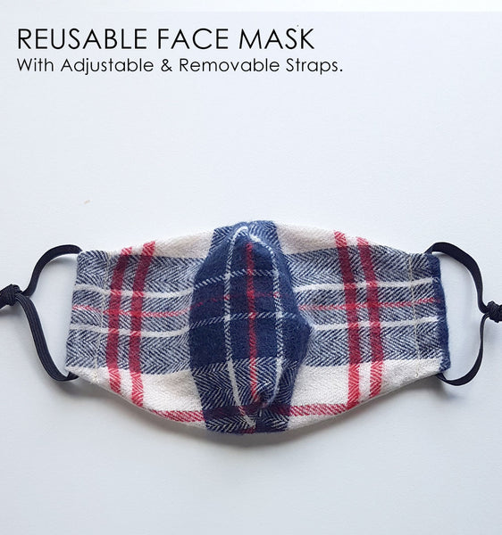 Reusable Face Mask - Checked Flannel (Unisex design)