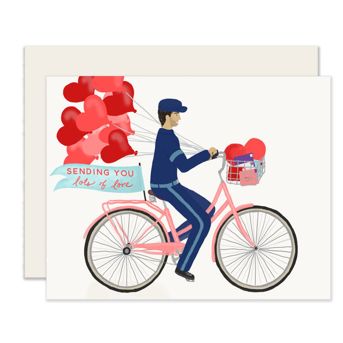 Sending Love- Bike Messenger Greeting Card
