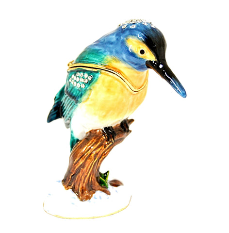 Kingfisher on Branch Trinket Box