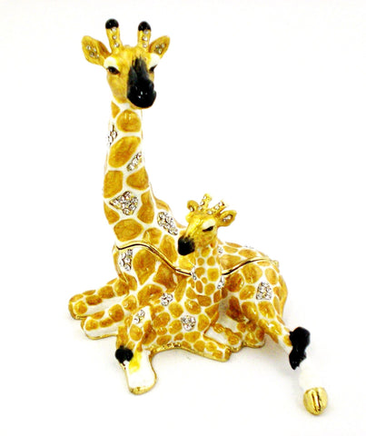 Giraffe Sitting with Baby Trinket Box