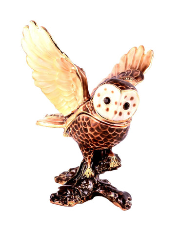 Flying Owl on Branch Trinket Box