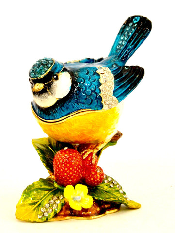 Blue Jay Bird on Branch Trinket Box