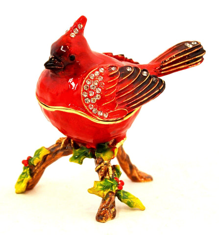 Cardinal Bird on Branch Trinket Box