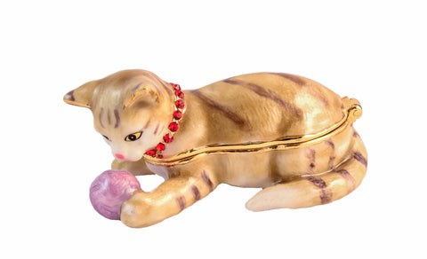 Funny Cat Playing Ball Trinket Box