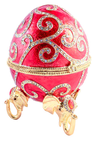 Faberge Egg on Elephant Head Stand
