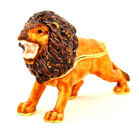Lion Jeweled Trinket Box