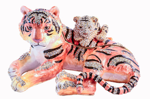 Sitting Tiger and Baby Trinket Box