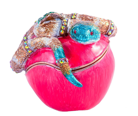 Snake Coiled on Apple Trinket Box
