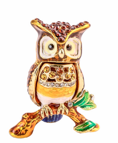 Small Owl on Branch Trinket Box