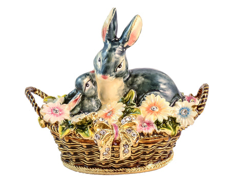 Two Rabbit In Basket With Flowers Trinket Box