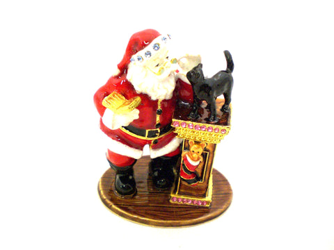 Santa Claus Trinket Box with Cat