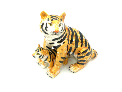Tiger With Baby Trinket Box