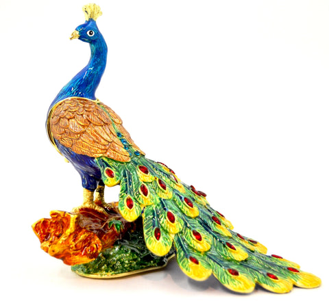 Peacock on Branch Trinket Box