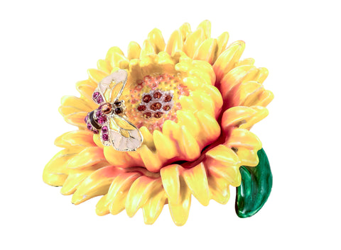 Sunflower with Butterfly Trinket Box