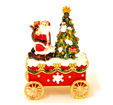 Santa & Christmas Tree Carriage Trinket Box