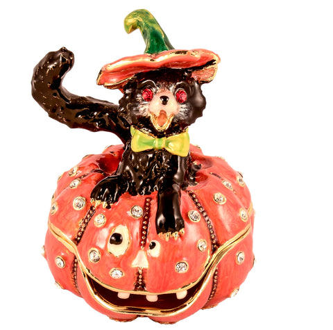 Cat Sitting on Pumpkin Trinket Box