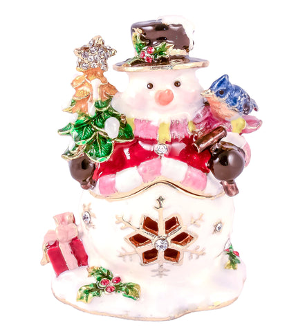 Snowman Holding Gifts Trinket Box