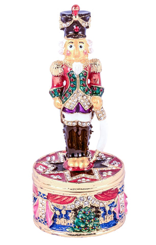 Nutcracker Standing On Round Base Trinket Box