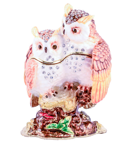 Owls On Branch Trinket Box