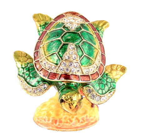 Sea Turtle on Branch Trinket Box