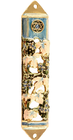 Floral Star of David Mezuzah Case