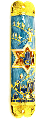 Star of David and Hamsa Mezuzah Case
