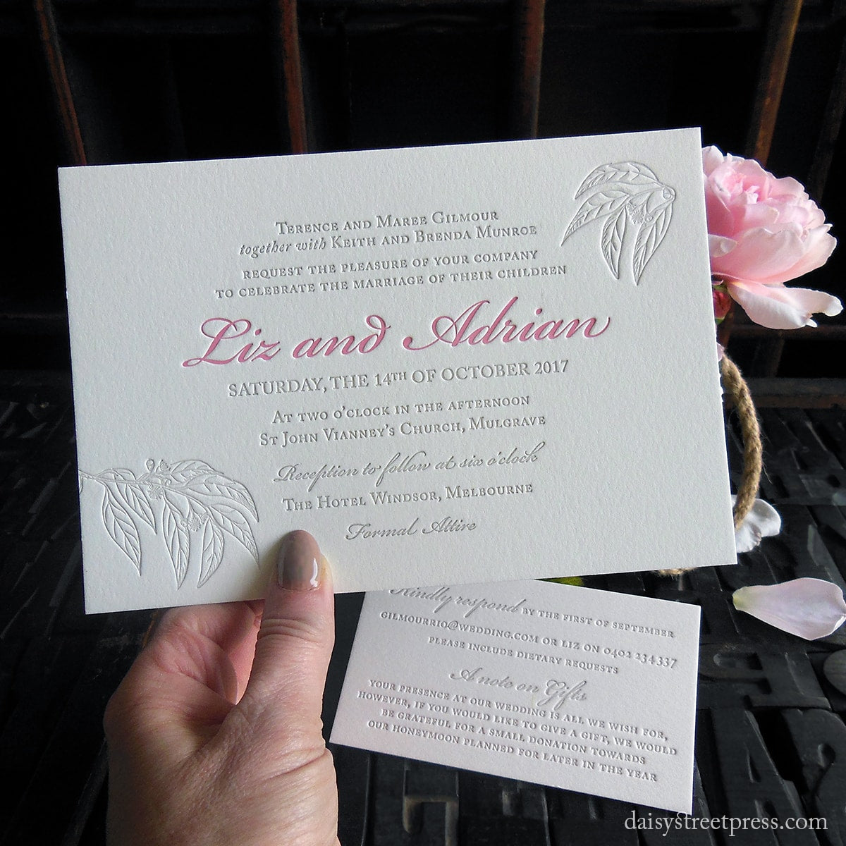 Daisy street press letterpress print wedding invites and stationery best selling stopboris Gallery