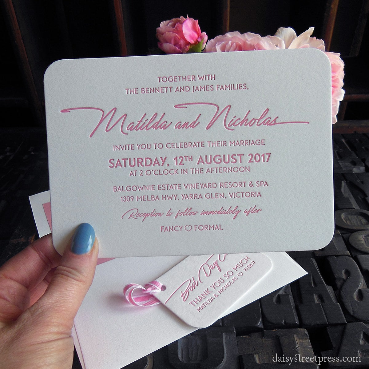 Daisy Street Press letterpress print wedding invites and stationery