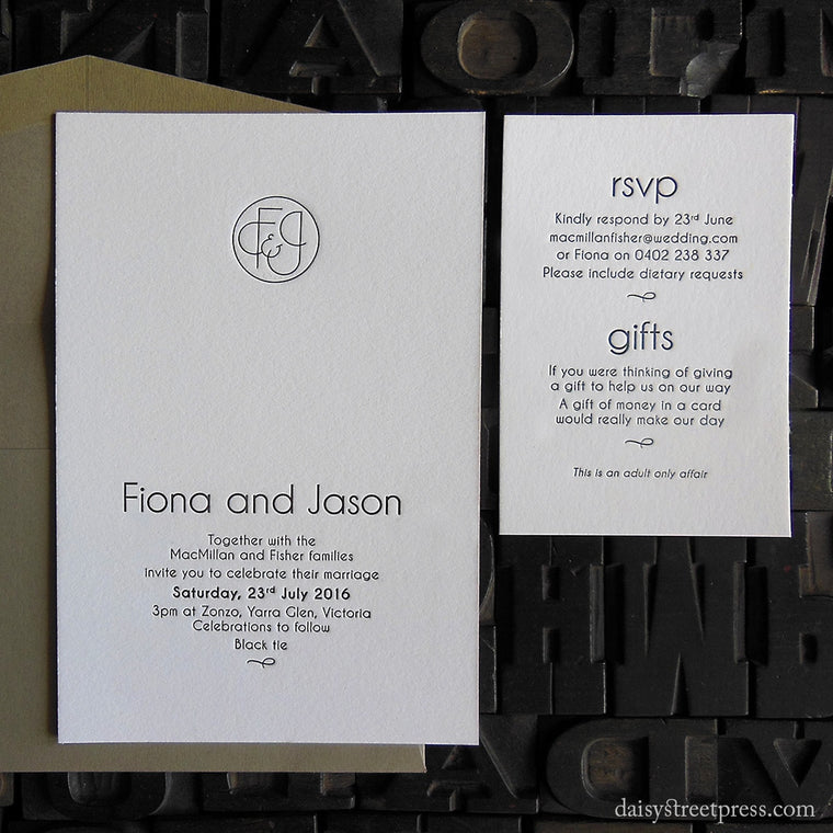Century monogram letterpress wedding invitations
