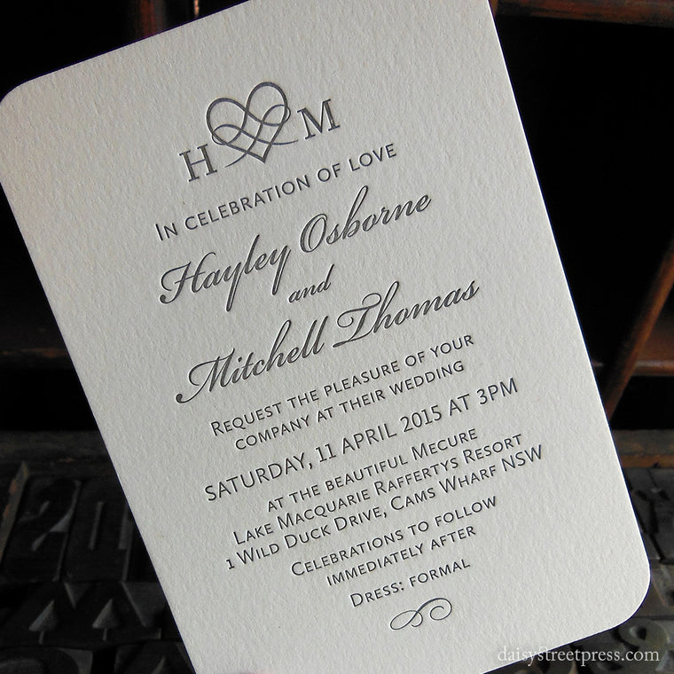 Classic Monogram wedding invitation letterpress printing