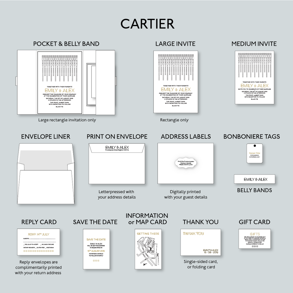 Cartier design stationery set examples from Daisy Street Press