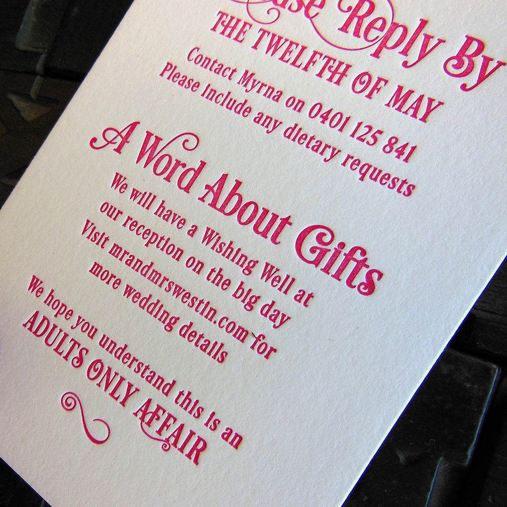 Desire typographic design wedding RSVP and gift card