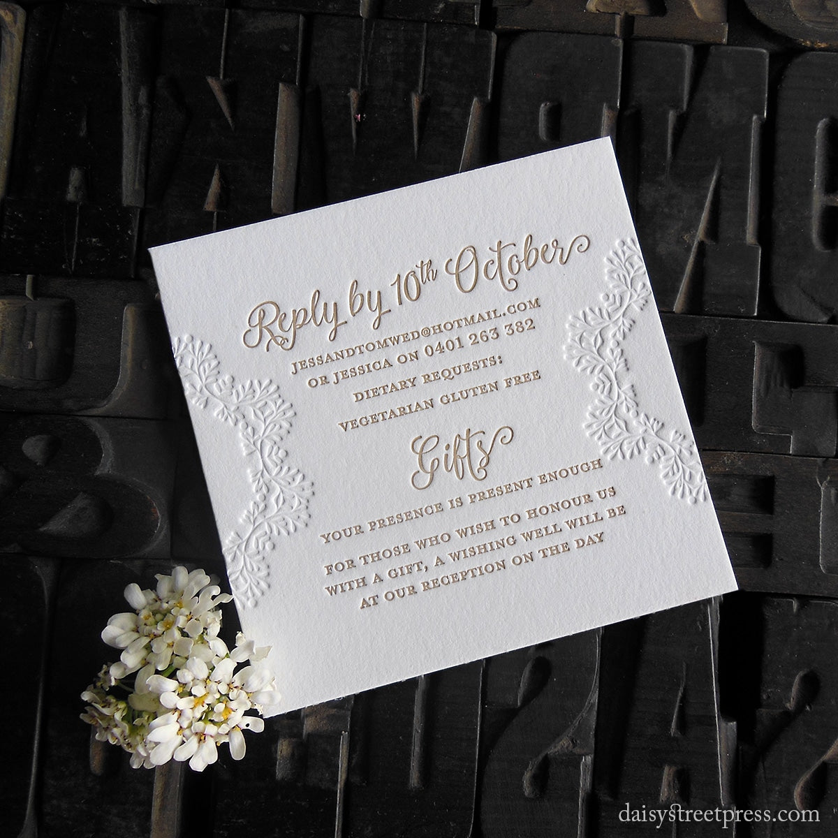 Edelweiss | Lovely letterpress wedding invite by Daisy Street Press