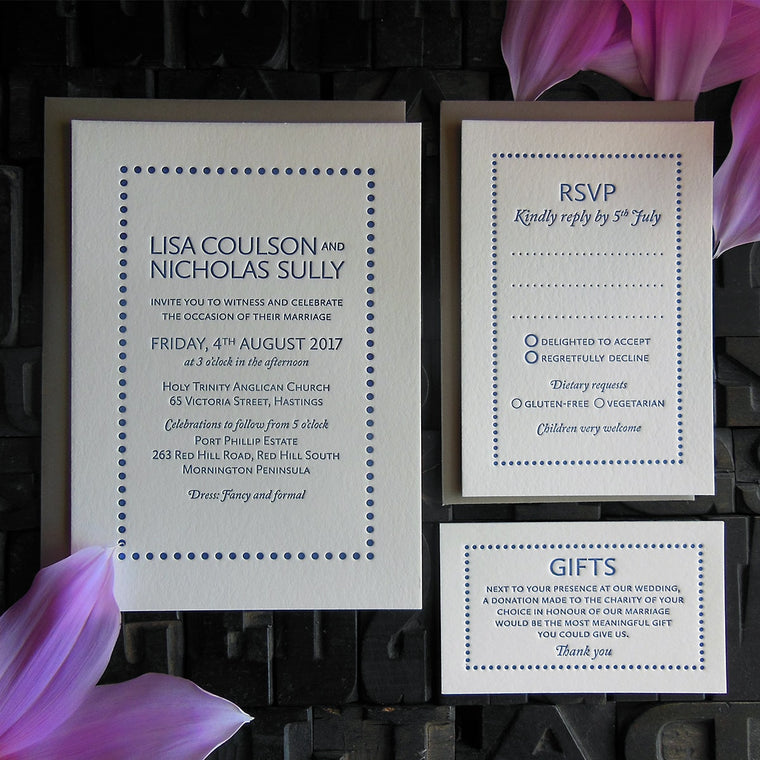 Modern collection | Letterpress wedding invites by Daisy Street Press