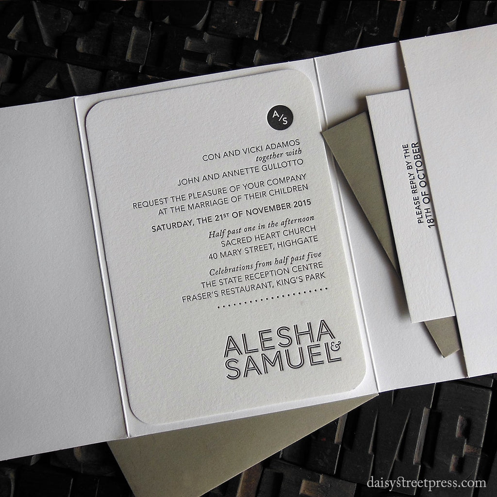 Modern Monogram letterpress wedding invitation in pocket