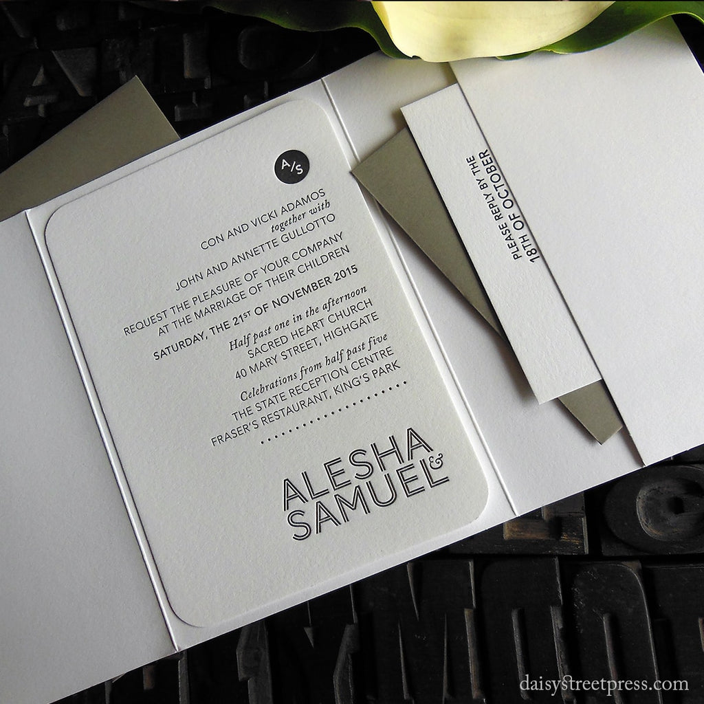 Modern Monogram letterpress wedding invitation in pocket enclosure