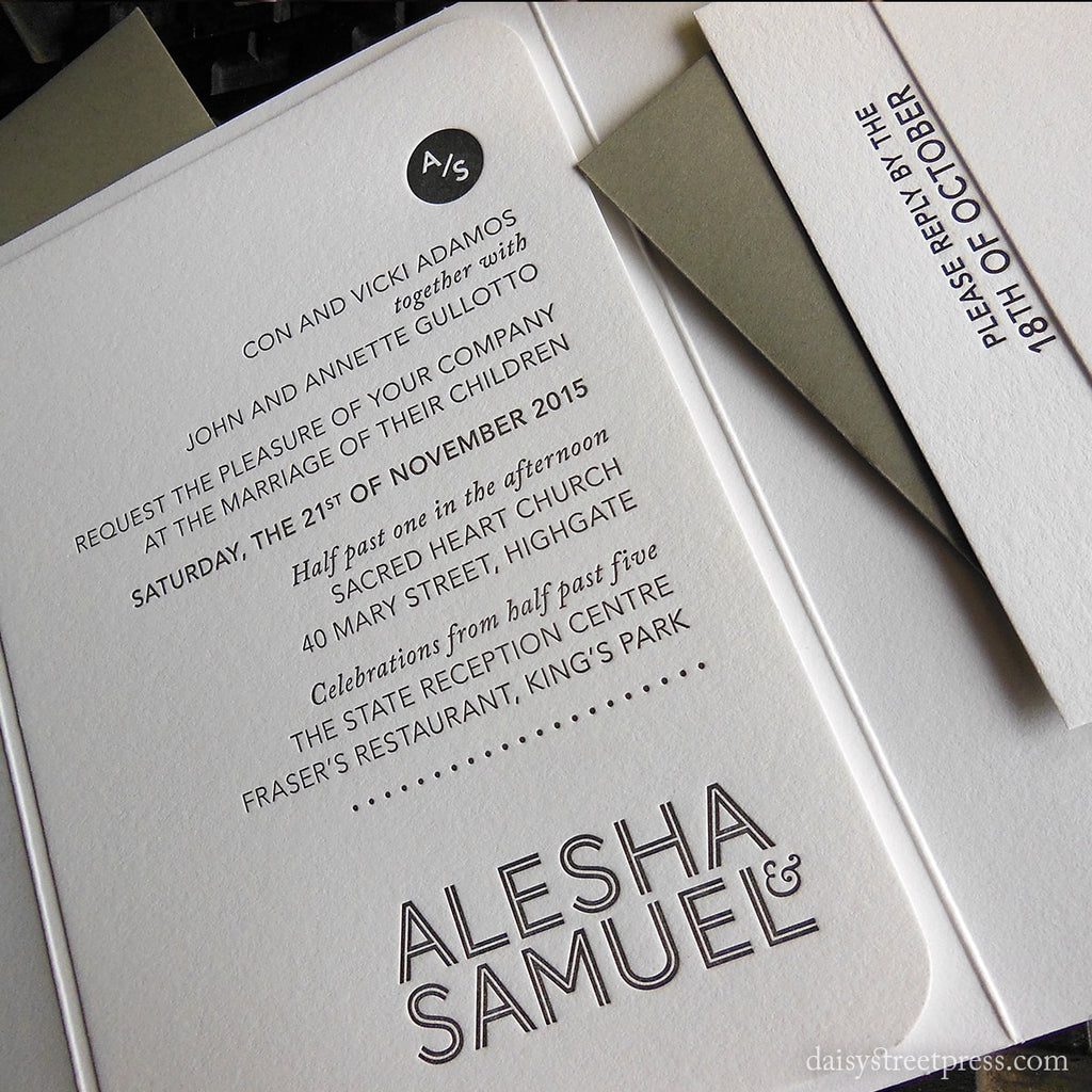 Modern Monogram letterpress wedding invitation by Daisy Street Press