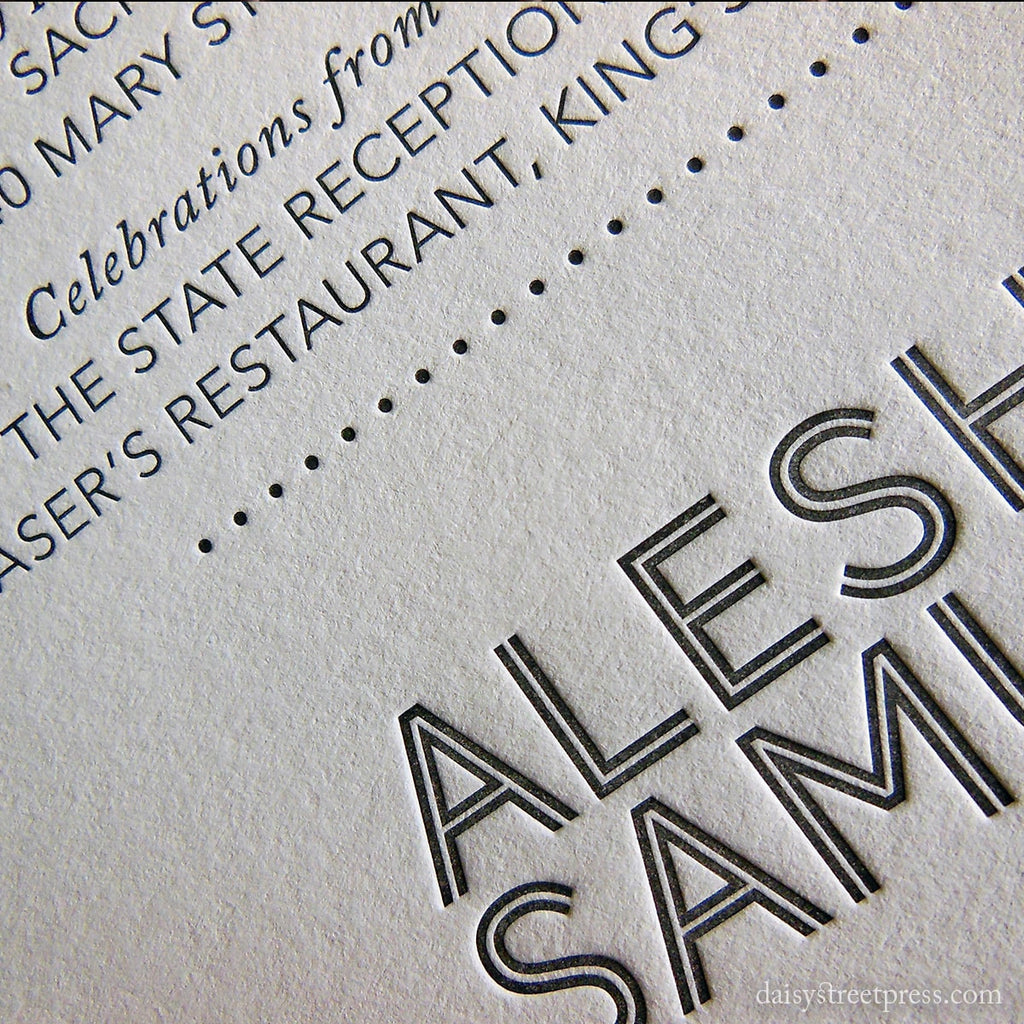 Modern Monogram letterpress wedding invitation close up