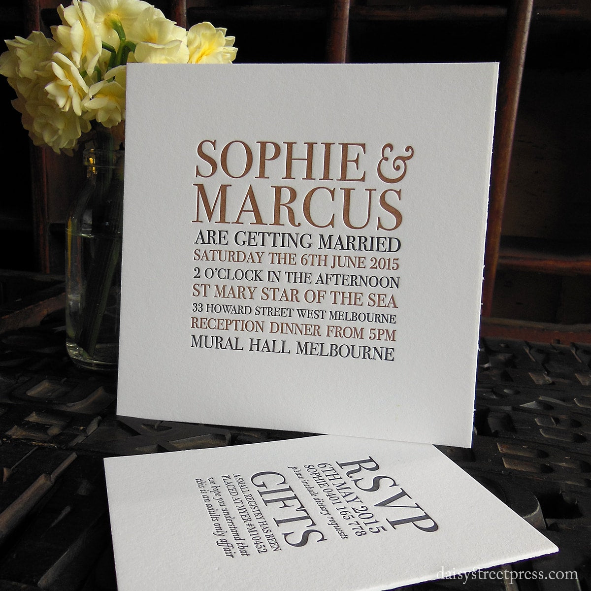 Oxford | Clean and simple style letterpress wedding invitation ...