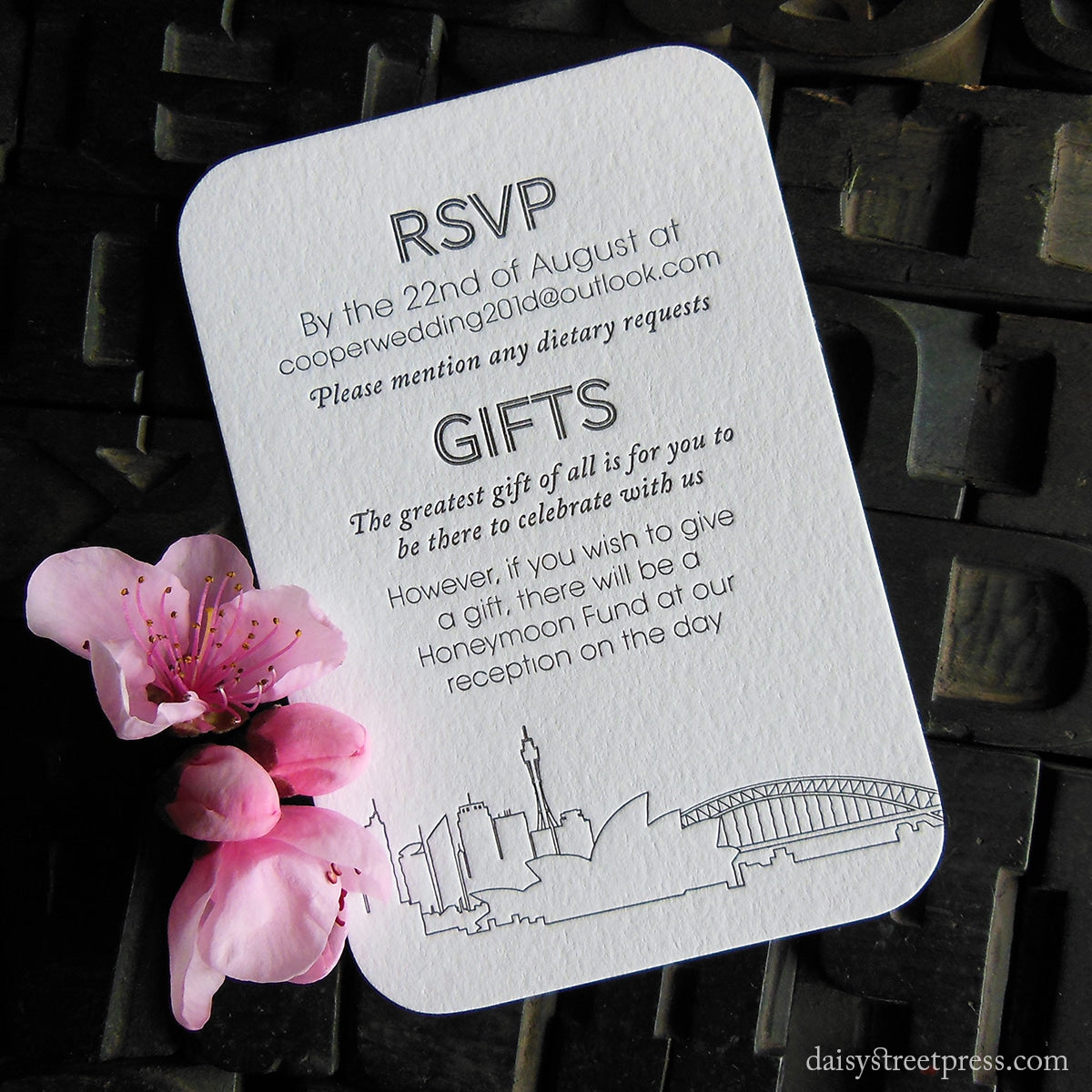 Sydney Skyline | Letterpress wedding stationery by Daisy Street Press