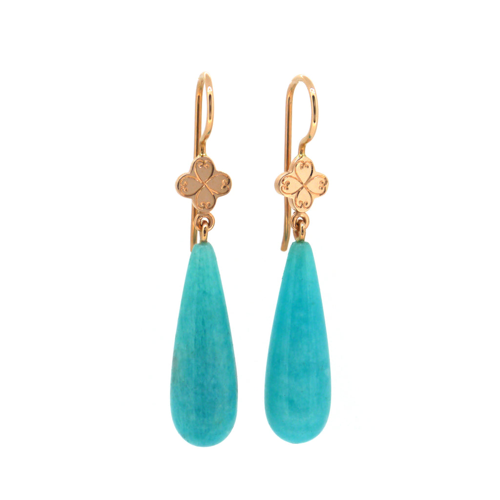 Engraved Quatrefoil Earrings with Amazonite