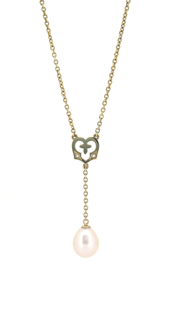 Angel Heart Necklace with Pearl